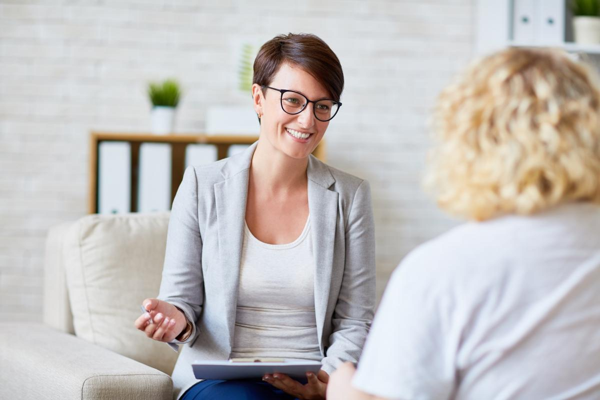 counsellor and patient talking
