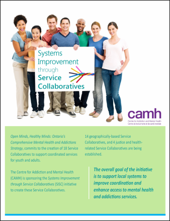 image of service collaboratives initiative brochure that shows a group of people standing together, holding up a sign that says Systems Improvement through Service Collaboratives